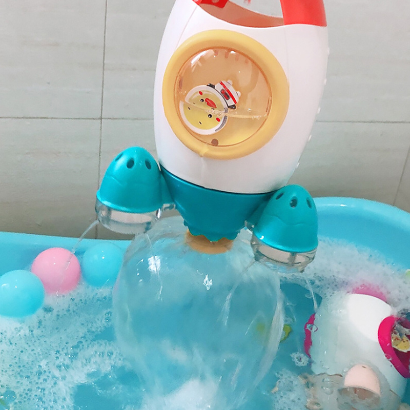 Children's Water Playing Toys Rocket Launcher Rotating Water Spraying Baby Water Playing Flower Shower Baby Shower Shampoo Bathr