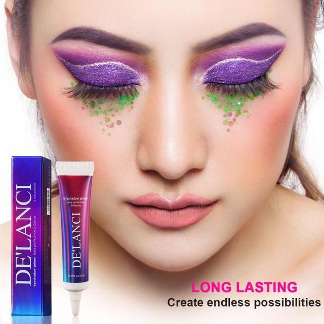 DELANCI Eye Makeup Primer Cream Sequined Primer Eye Lips Makeup Longlasting Glitter Waterproof Eyeshadow Glue Cosmetic TSLM2