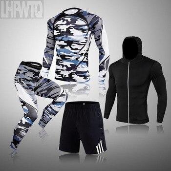 Winter Suit For Men 4 Piece Men Thermal Underwear Tracksuit Men MMA Thermal Underwear Clothing Rashgard kit Bodybuilding T-Shirt