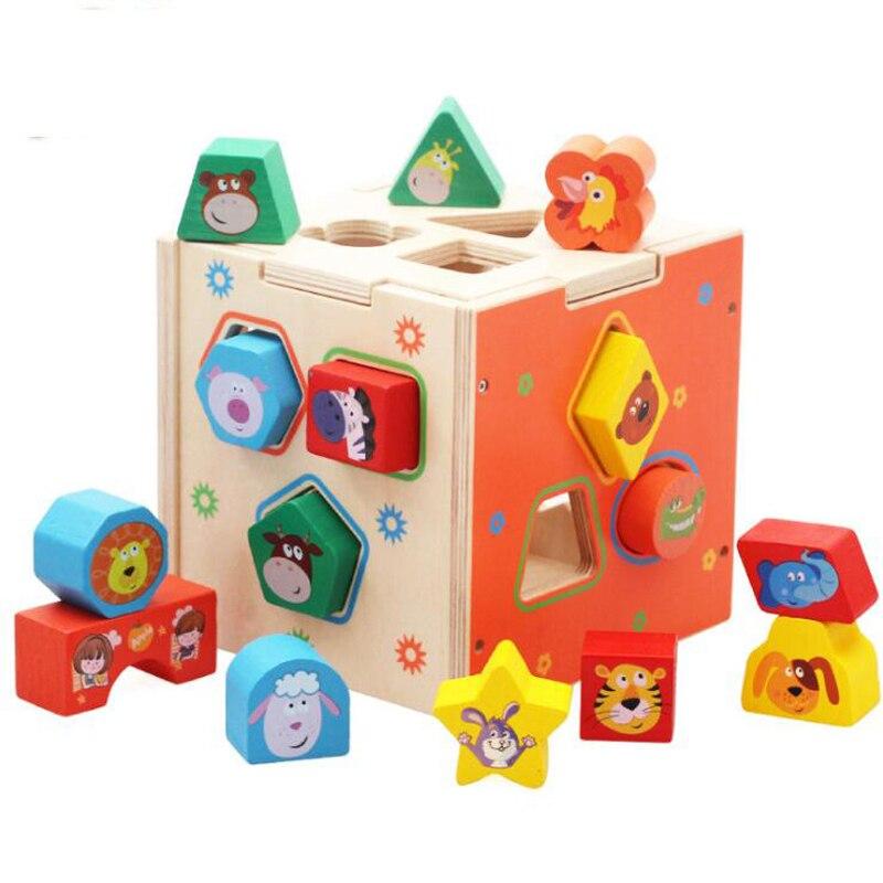 bebe aprendendo brinquedos educativos de madeira forma geometrica blocos caixa de classificacao correspondencia montessori criancas presentes