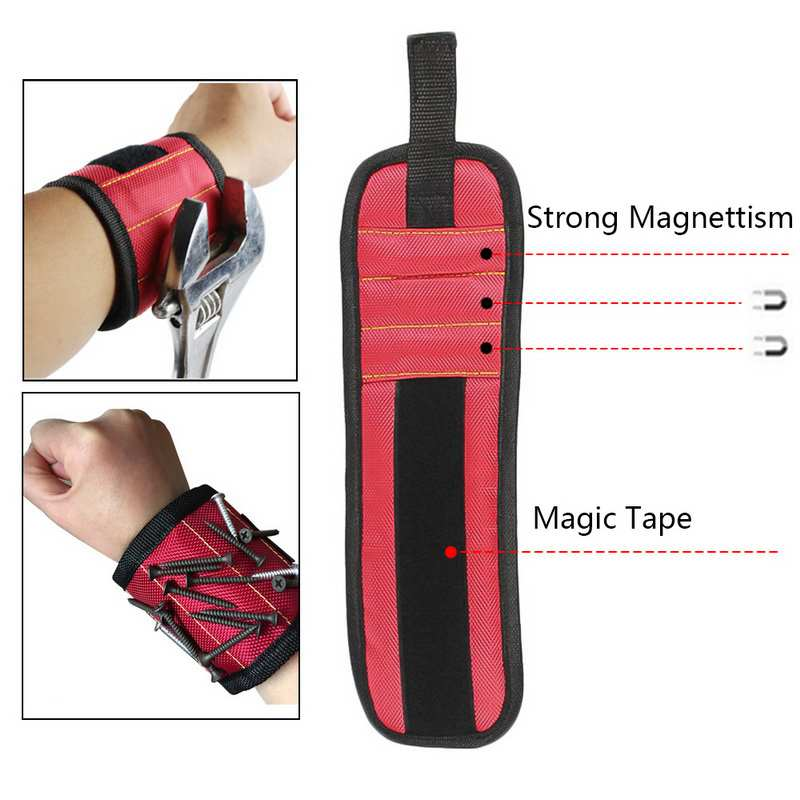 Urijk Electrician Wrist Tool Belt Polyester Magnetic Wristband Portable Tool Bag Screws Nail Drill Bits Holder Hold Repair Tools