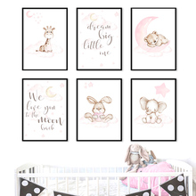 Giraffe Elephant Rabbit Bear Baby Quote Nordic Posters And Prints Wall Art Canvas Painting Cartoon Wall Pictures Kids Room Decor cartoon cute rabbit bear quote nursery wall art canvas painting nordic posters and prints wall pictures for baby kids room decor