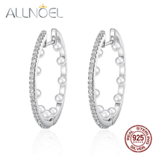 ALLNOEL 925 Sterling Silver Earrings For Women Handmade Pearl Earrings Real Platinum Fashion Jewelry Engagement Wedding Jewelry