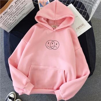 Korean Streetwear Sweatshirt Men Women Casual Pullover Hip Hop Long Sleeve Smile Sad Face Line Print Hoodies Sportswear Tops 3