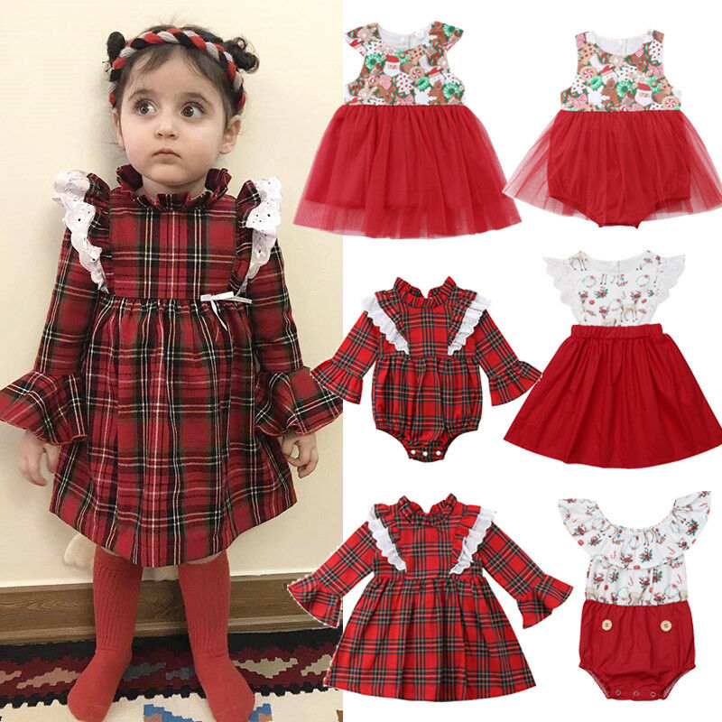 Christmas Costume For Baby Girls Cartoon Cotton Baby One Piece Plaid Bodysuit + Tutu Dress Outfit Sister Clothes Xmas Clothing