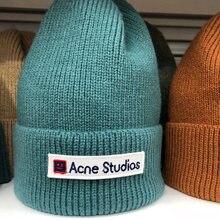 Повседневная новая зимняя шапка однотонные шерстяные шапки бини