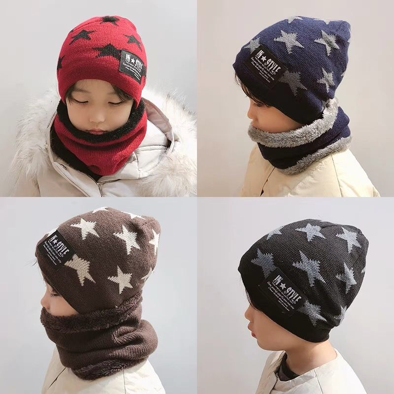 【Hat And Scarf】In Autumn And Winter, Children's Hats And Scarves Are Thickened With Velvet To Keep Warm Boys And Girls