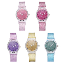Quartz-Watch Silicone-Strap Women Jewelry Gifts Round Girl Analog Candy Jelly Dial Shiny