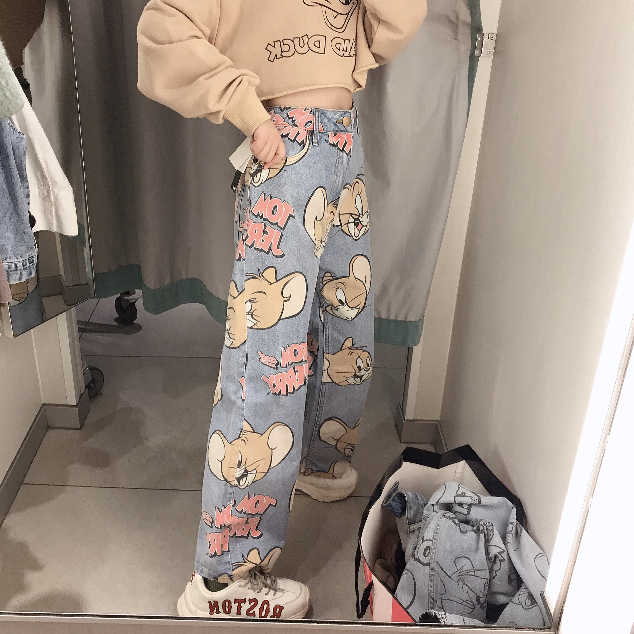 Woman Jeans High Waist Loose Straight Pants Korean Style Cartoon Printed Zipper Fly Casual Female Long Trousers 2020 New Fashion