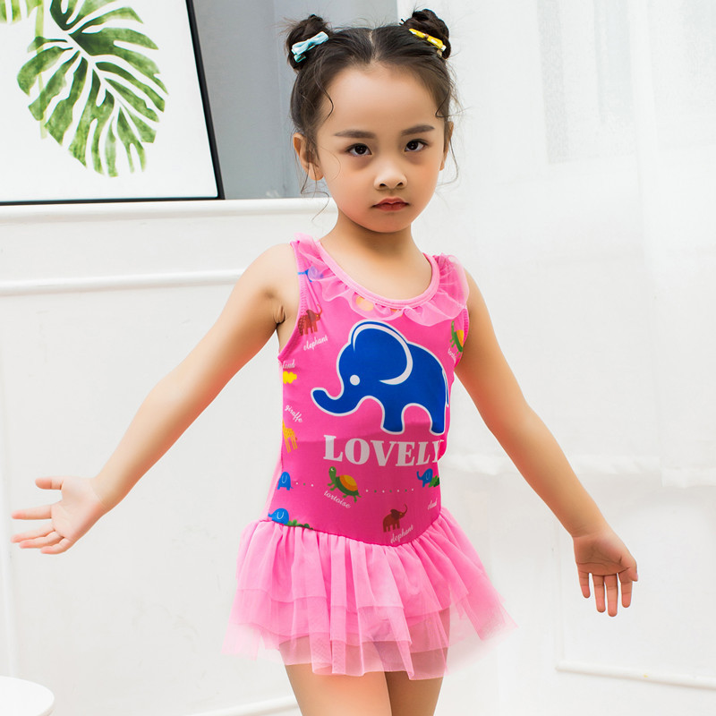 2018 New Style GIRL'S One-piece Swimsuit KID'S Swimwear Elephant Cartoon Pattern Baby Hot Springs Beach Tour Bathing Suit