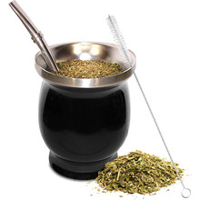 Yerba-Juego de tazas de té de calabaza Natural Mate, 8 onzas, paja Mate, cepillo de limpieza, acero inoxidable, doble pared, fácil de limpiar