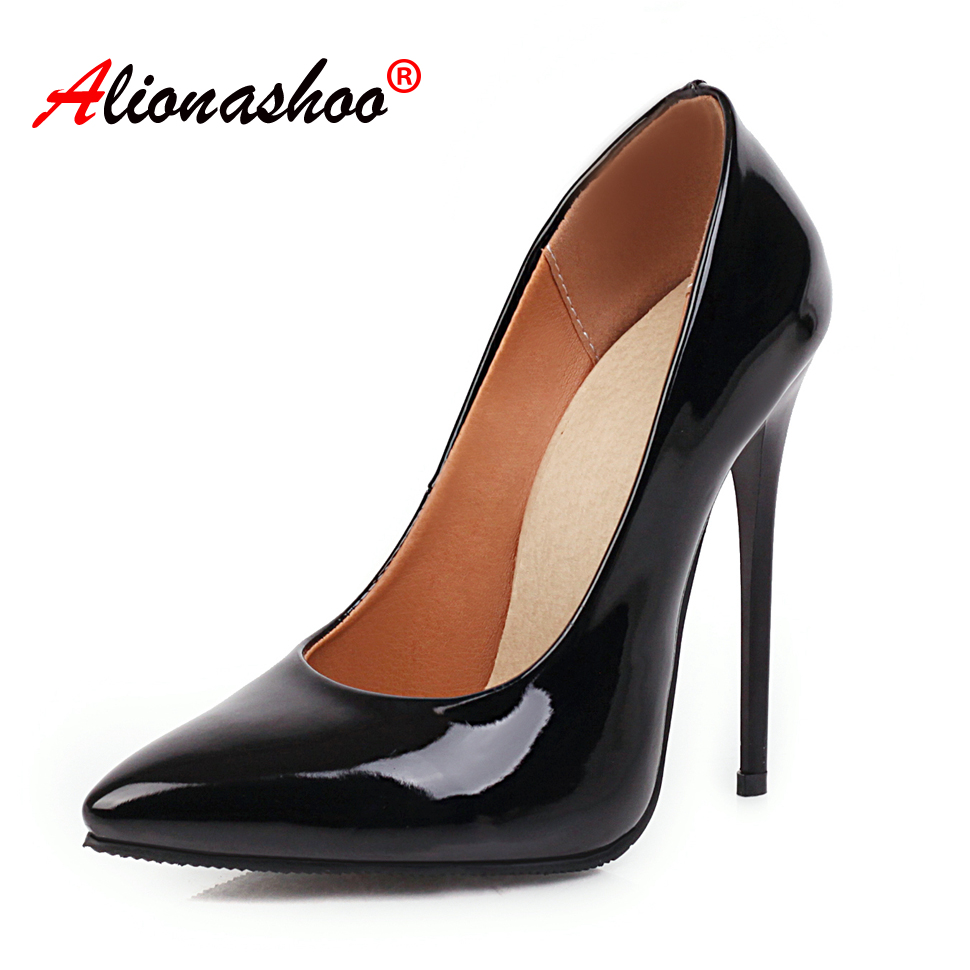 Women Pumps  Thin High Heels Shoes Woman Stiletto Pointed Toe Female Sexy Party Shoes Office Lady Wedding Party Plus Size 34-48