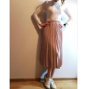 Image 3 - Lizkova ורוד קפלים חצאית נשים בתוספת גודל Midi Jupes 2020 חורף שחור אלסטי מותניים מזדמנים Fladas PYQ011