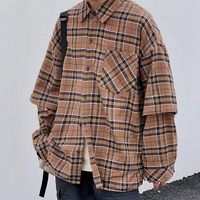 2019 Autumn Men's Long Sleeve False Two Piece Shirt French Cuff Mens Clothes Fashion Tide Shirts Male Camisa Masculina M 2XL