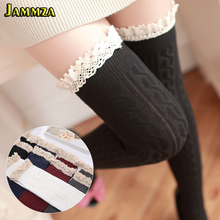 Winter Women New Fashion Stockings Floral Lace Solid Cotton College Europe Above The Knees Skirt Stripe Style Harajuku