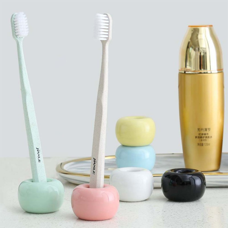 Donut Ceramic Toothbrush Holder Candy Color Multifunction Base Frame Storage Rack Bathroom Shower Tooth Brush Stand Shelf