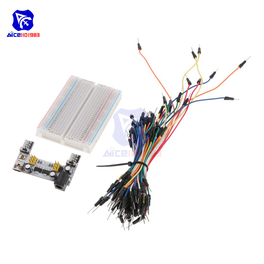 Diymore M400 Tie Point Solderless Breadboard + 65PCS Jumper Cable + MB-102 MB102 Micro/Mini USB Power Supply Module For Arduino