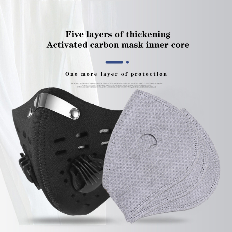 200Pcs Dust Mask PM2.5 Activated Carbon Breathable 5-Layer Filter Outdoor Cycling Running Protection Mouth Face Mask