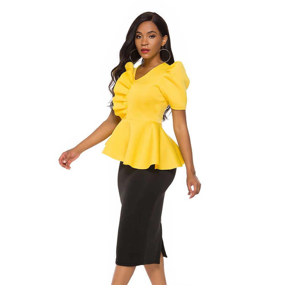 Blusas De Talla Grande Para Mujer Tops Con Volantes Amarillos Peplum Elegante Fiesta Cita Evento Celebrar Bluas De Talla Grande Xxl Xl Blusas Y Camisas Aliexpress