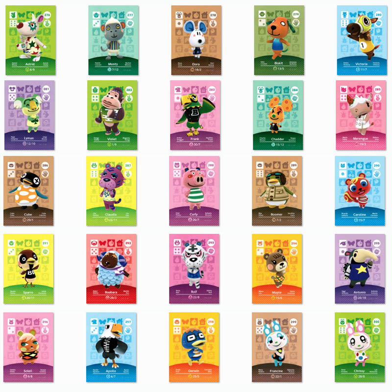 (276 To 300) Animal Crossing Card Amiibo Printed NFC Card Compatible Pick From The List
