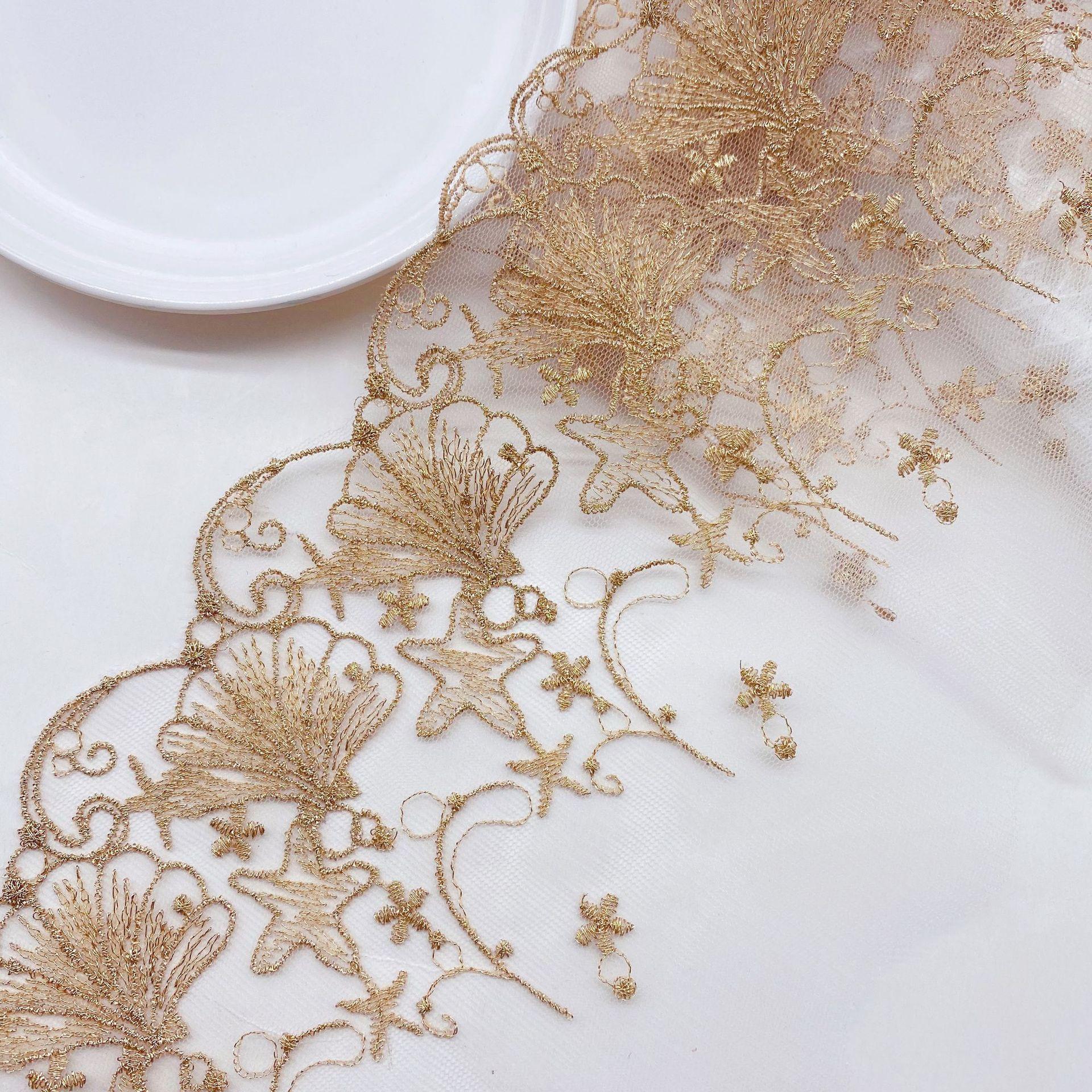 2 ярдов оболочка кружево из золотых нитей одежда аксессуары планки мелкая сетка юбки с вышивкой, платье в стиле