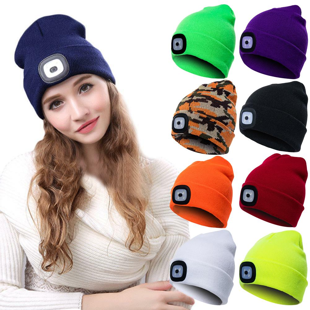Unisex Autumn Winter LED Lighted Cap Warm Beanies Outdoor Fishing Running Beanie Hat Flash Headlight Camping Climbing Caps