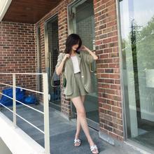 Women Summer Pants Suits Office Lady Chiffon Casual Blazer And Shorts 2 Piece  Set