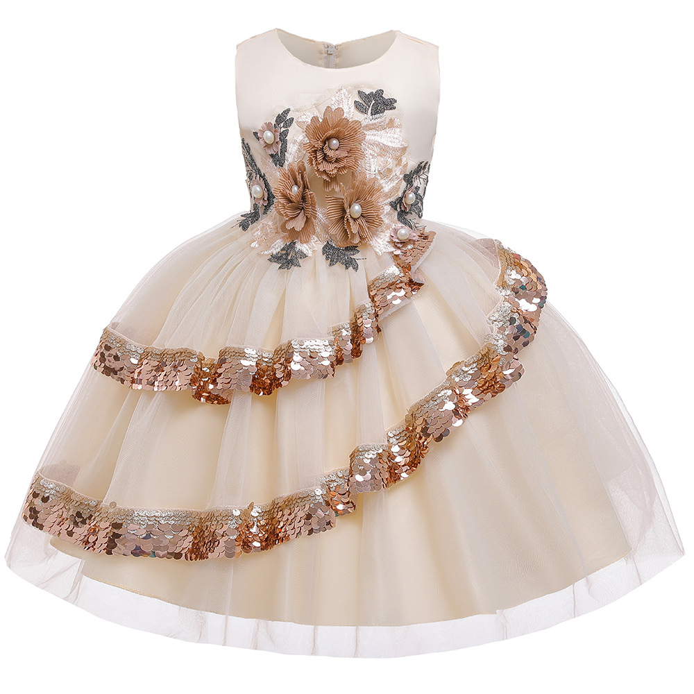 Cross Border For New Style CHILDREN'S Full Dress Europe And America Flower Sequin Girls Catwalks Costume Princess Puffy Formal D