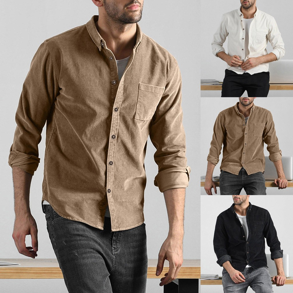 Plus Size Fashion Men Autumn Casual Solid Corduroy Pocket Long Sleeves Shirt Top Blouse Comfortable Shirts Top FOR Men#G1