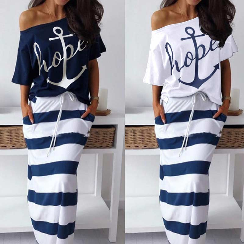 Plus Size Blue 2 Piese Set Women Anchor Print Off Shoulder T-Shirt Tee With Striped Long Skirt Sets Summer Two Piece Skirt Sets