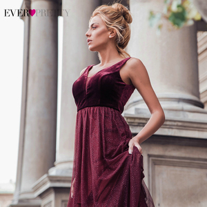 Image 5 - Elegant Evening Dresses Ever Pretty EP07849 Burgundy Sexy Formal Party Gowns 2020 Sparkle Tulle Womens Wedding Party Gown