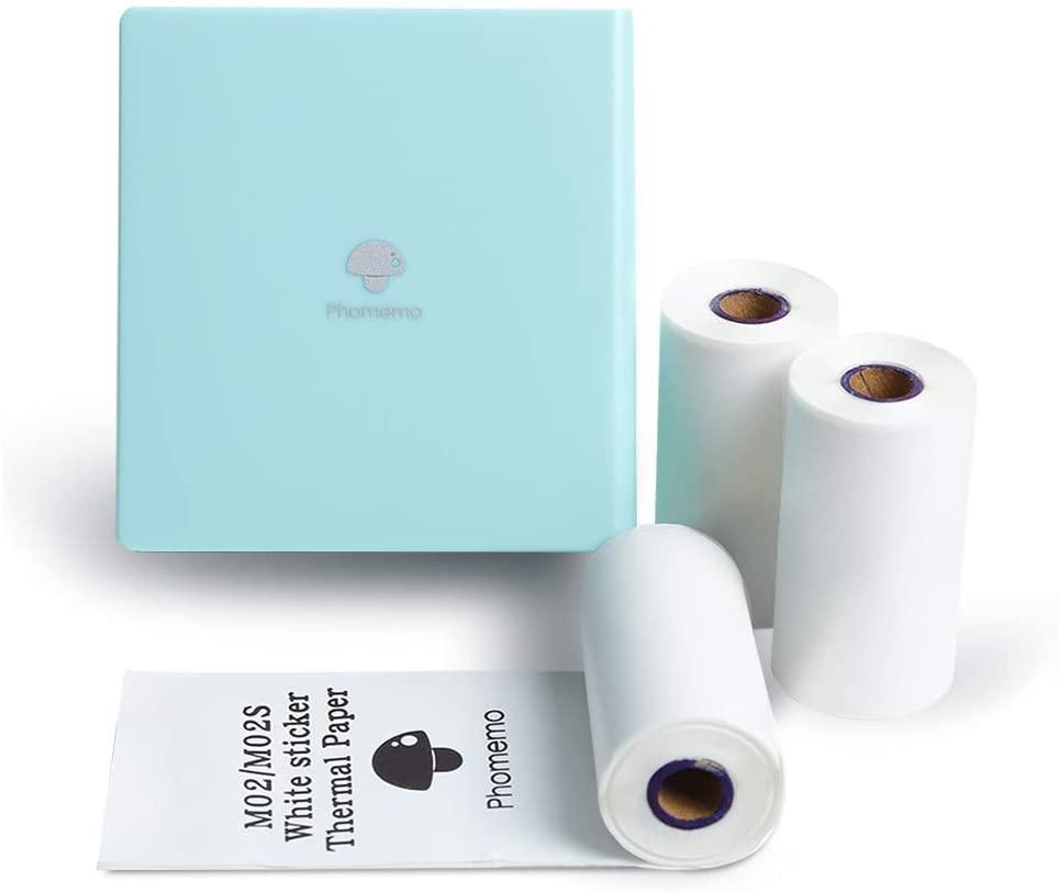 Phomemo M02 Tasche Foto Drucker Mini Bluetooth Thermische Drucker mit 3 Rollen Weiß Aufkleber Papier, kompatibel mit iOS + Android