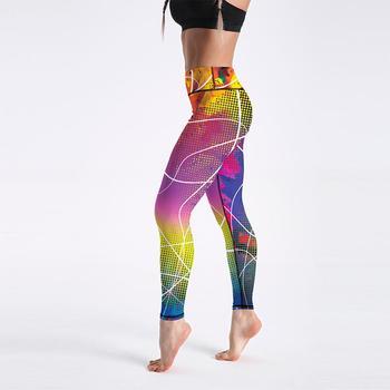 Qickitout 12% Spandex High Waist Digital Printed Fitness Leggings Push Up Sport GYM Leggings Women 26