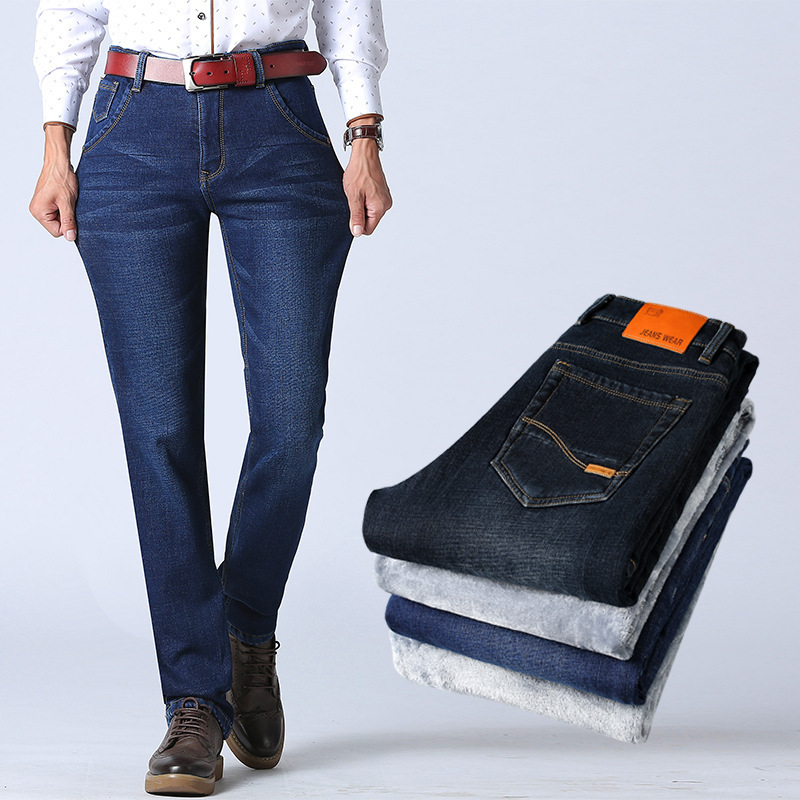 2018 Winter Business Straight Men's Brushed And Thick Jeans Elasticity Versatile Large Size Plus Velvet Jeans Men's