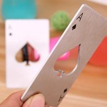 Black/Silver Poker Card Spades Stainless Steel Beer Bottle Opener Personalized Bar Tools