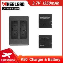 Cámara de Acción de 2 vías, cargador de batería o 3,7 V, batería de 1350mah para KEELEAD K80, cámara de acción 4K 60 FPS, accesorios de cámara