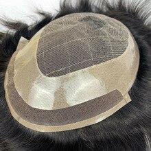 Perruque toupet 100% naturelle pour hommes, couleur 1B, système de remplacement de cheveux en dentelle suisse, avec NPU Durable