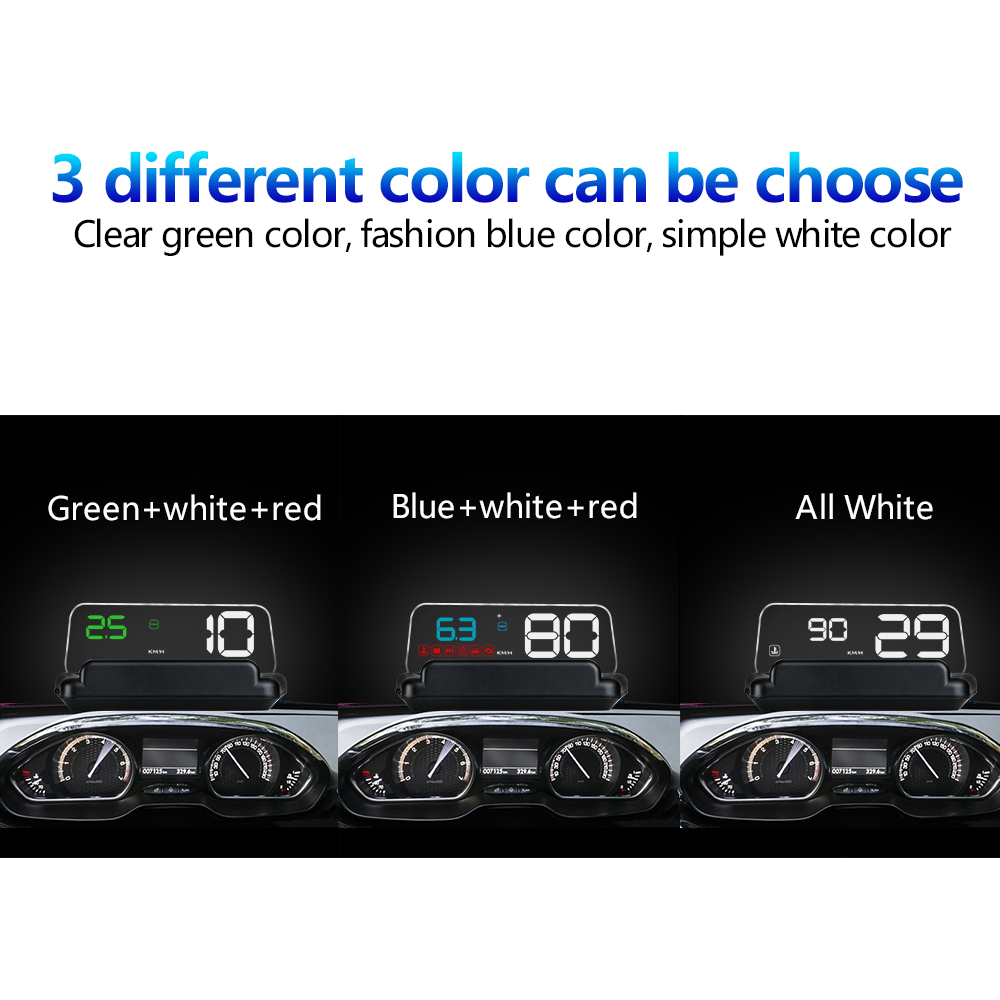 lowest price WiiYii Mirror C500 HUD Car Head up display  Speed Projector Security Alarm Water temp Overspeed RPM Voltage Alarm System Auto