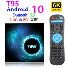 2021 novo t95 smart tv caixa android 10 4k 6k 4g 32gb 64gb 2.4g & 5g wifi bluetooth 5.0 youtube hd 6k android tv boxmedia player