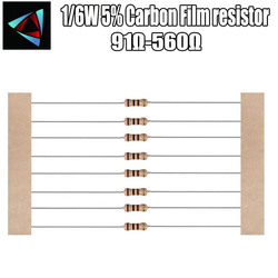 100pcs 1/91R 6W 5% Resistor de Filme de Carbono 100 120 130 150 160 180 200 220 240 270 300 330 360 390 430 470 510 560 ohm