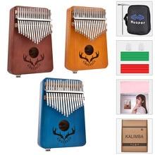 Thumb-Piano-Kalimba Mahogany Tuning-Hammer Musical-Instrument 17-Keys Beginner with Carrying-Case