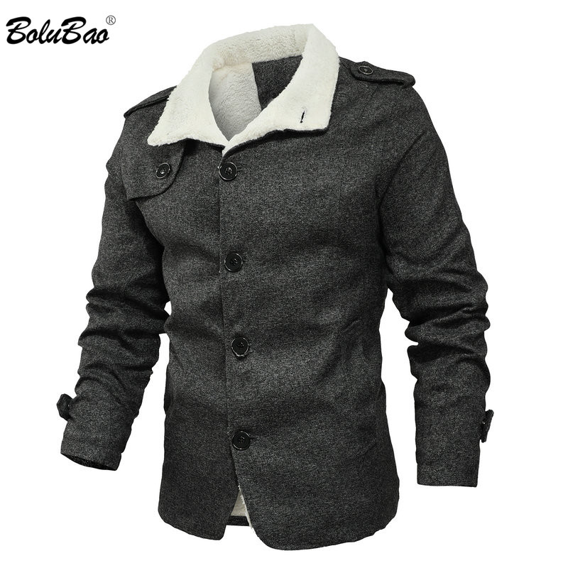BOLUBAO Fashion Men Wool Blend Coats Quality Brand New Men's Casual Overcoat Solid Color Wool Blend Coat Male