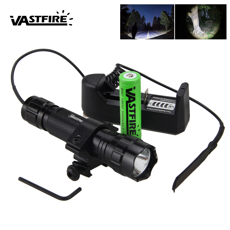 Tactical 501B 5000lm XM-L T6 Led Weapon Gun Light White Hunting Flashlight+Rifle Scope Airsoft Mount+Remote Switch+18650+Charger