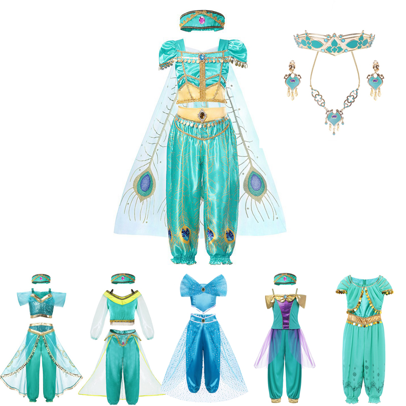 MUABABY Arabian Princess Dress Up Girl Aladdin Jasmine Fancy Costume Children Cosplay Photography Halloween Party Outfit Clothes