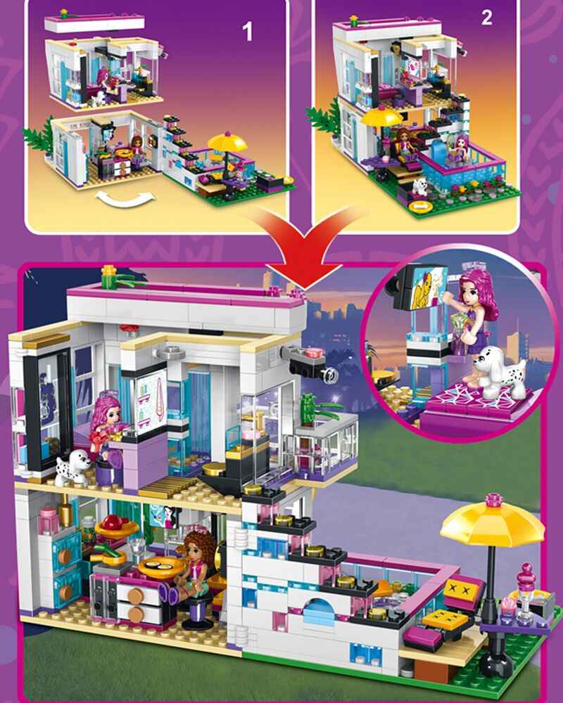 Bộ 760 Ngôi Sao Nhạc Pop Livi Nhà Khối Xây Tương Thích Legoinglys Bạn Bè Cho Bé Gái Hình Viên Gạch Đồ Chơi Giáo Dục Cho Trẻ Em