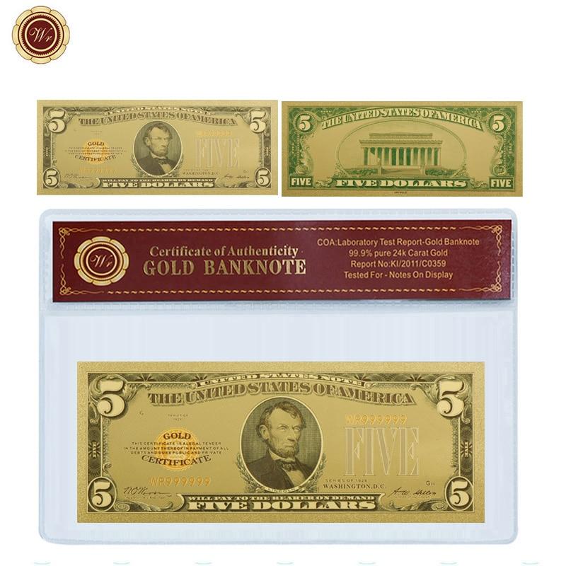 WR 1875 Jahr Amerikanischen 5 USD Goldfolie Banknote mit PVC Coa Rahmen Gefälschte Geld Bill Bank Hinweis Prop Geld geschenk für Männer