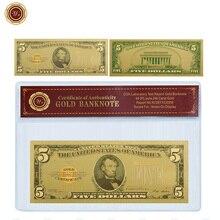 Американская золотая фольга для банкнот WR 1875 года, 5 долларов США с рамкой из ПВХ Coa, искусственные деньги, купюр, банк, Банкнота, реквизит, ден...