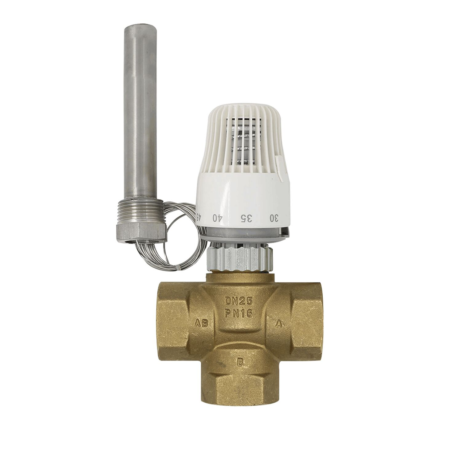 30-70 Degree Control Floor Heating System Thermostatic Radiator Valve M30*1.5 Three Way Valve Thermowell  DN25
