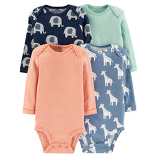 Baby Bodysuit Set 4pcs-Pack Long Sleeve For Bebes Infant Boy Girl 4pcs -Pack Soft Cotton Jumpsit Clothes