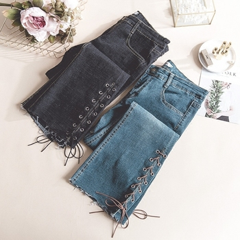 High Waist Flare Jeans 2020 Spring Summer Streetwear Sexy Ladies Denim Trousers Stretch Lace Up Skinny Jeans Woman Pants high waist skinny flare jeans